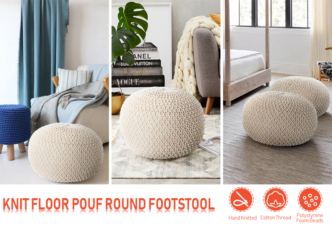 Knit Modern Floor Pouf Round Footstool Round Pouf Ottoman Pouffe Seat Real Canadian Superstore