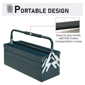 Dark Green DURHAND Metal Tool Box Portable 5-Tray Cantilever Steel Tool Chest Cabinet