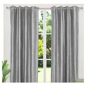 Blackout Linen Look Textured Grommet Curtain Panels Room Darkening 54 X 84 Inch Set Of 2 Gray Real Canadian Superstore