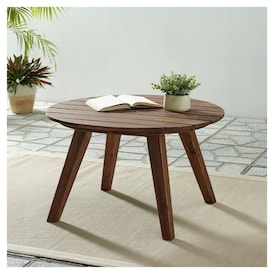 Walker Edison 30 Solid Acacia Wood Round Coffee Table In Dark Brown Real Canadian Superstore